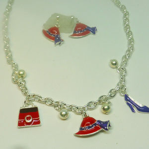 Red Hat Lady Society Necklace and Earring Set